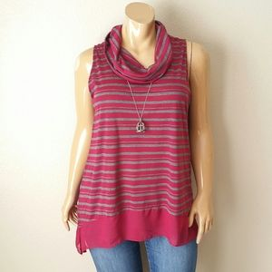 French Laundry Red Gray Mock Neck Blouse